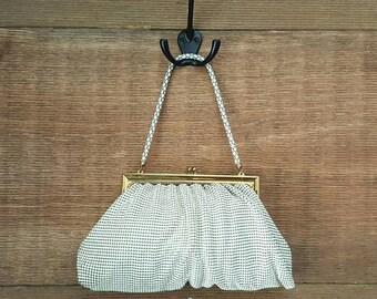 SALE Whiting and Davis Cream Mesh Purse Handbag / vintage 1960's