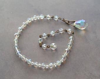 Vintage Aurora Borealis Glass Faceted Bead Bracelet 1950's