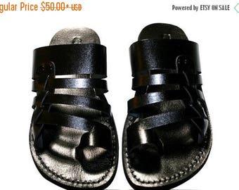 15% OFF Black Skate Leather Sandals For Men & Women - Handmade Sandals, Leather Flip Flops, Jesus Sandals, Unisex Sandals, Black Sandals