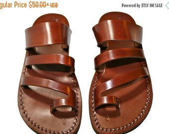 15% OFF Brown Double-roman Leather Sandals For Men & Women - Handmade Sandals, Leather Flip Flops, Jesus Sandals, Unisex Sandals, Brown Sand