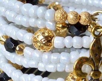 New Orleans Saints White Seed Bead Wrap Bracelet - Gold metal & black beads - Fleur de lis charms - Boho chic - Bohemian cuff - bycat