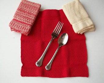 Dishcloths Knit in Cotton in Red and Off White, Knit Dish Cloths, Knit Wash Cloths, Washcloths
