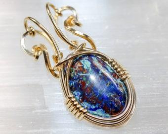 Azurite and Malachite Pendant - Unique Original Jewelry Design by Philip Crow