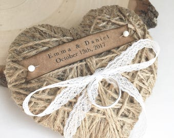 Wedding Ring Pillow/Holder - reuse as Christmas ornament  - personalized with white lace or white cotton ribbon-wedding ceremony-ring bearer
