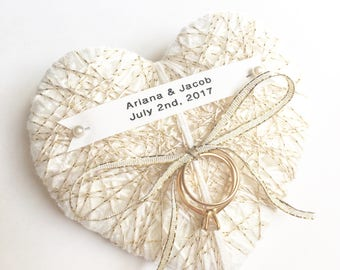Ivory and Gold Wedding Ring Bearer Pillow -new 2017 design- reuse as Christmas ornament- choose lace, ribbon, string-durable custom name tag