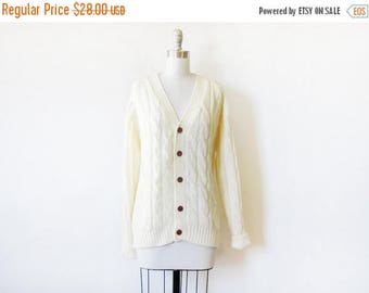 20% OFF SALE cable knit cardigan sweater, vintage 70s cream knit cardigan, xl cardigan, unisex