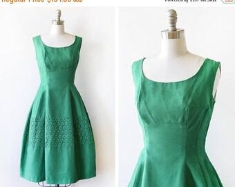 20% OFF SALE 1950s green dress, vintage 50s linen silk lace dress, mid century party dress, small medium sm