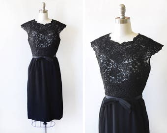 60s black lace dress, vintage 1960s black dress, black cocktail dress with bow belt, extra small/xs small s