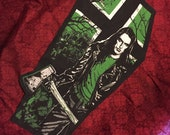 type o negative peter steele vinnland coffin patch - medium or extra large, back patch sew or glue on , hail the green man ton Halloween rip