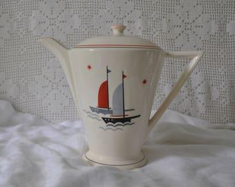 Sail Boats Art Deco Pottery Teapot/Vintage 1940s/Sailing Ships Ceramic Coffee Pot/Beach House Decor