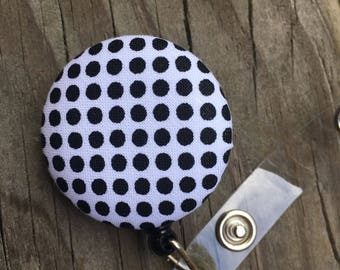 Name badge fabric covered badge reels black and white polka dot design