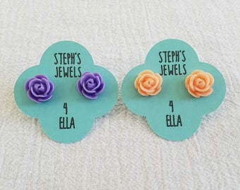 Purple or Peach Beautiful Bloom Flower Earrings