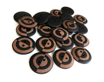 6 geometric black wooden buttons 23mm  (BB127C)