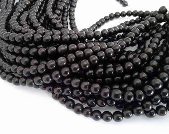 Exotic Black Camagong wood round beads - Wooden Beads 8mm - 50pcs  (PB300B)