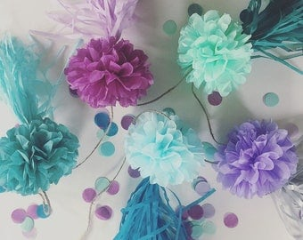 JELLYFISH pompom tassel garland / under the sea ocean creatures party mermaid decorations 1st first birthday baby shower aqua teal purple