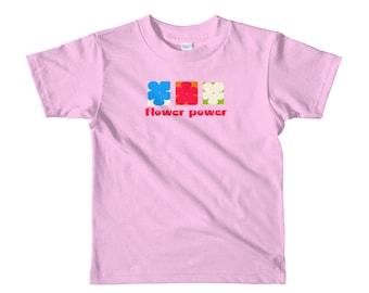 Short sleeve kids t-shirt FLOWER POWER, retro cool