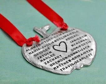 Hand Stamped Apple Ornament