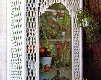 Vintage Macrame Pattern Window Greenhouse 1970's Home Decor Furnishing Digital PDF Reproduction e Pattern Instant Download