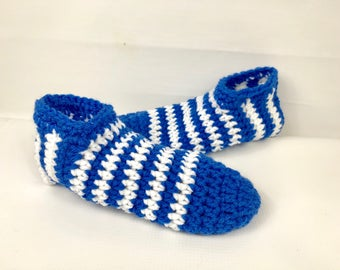 Crochet booties, blue and white stripe Slippers, Sock Booties, handmade booties, women slippers, slip ons, women's gift