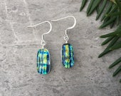 Blue Green Fibroid Dichroic Glass Earrings