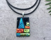 Oh Christmas Tree Dichroic Glass Pendant in Funky Traditional...