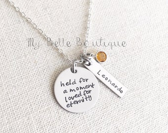 Memorial Name Necklace with Swarovski Birthstone - Personalized Hand Stamped