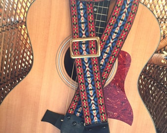 "Vintage Ace Style 1970's ""Bohemian"" pattern guitar strap, Blue and Red, Jimmy Page,Hippie, hootenanny"