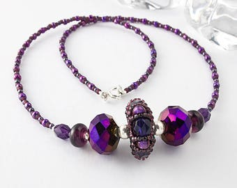 Purple beaded Lampwork Necklace
