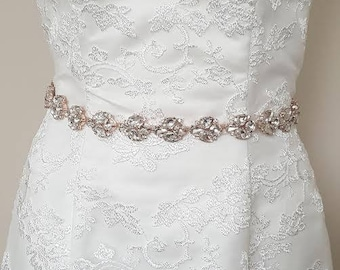 Rhinestone Wedding Gown Sash, Rhinestone Belt, Wedding Dress Crystal Sash, Bridal Gown Ribbon Sash, Rose Gold Dress Belt, Crystal Sash