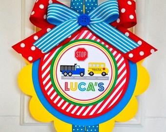 Transportation Door Sign, XL Door Hanger,Transportation Birthday Welcome Door Sign, Boy Birthday Welcome Door Sign, Vertical Cars Sign