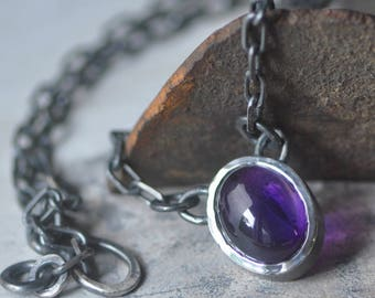 Amethyst necklace sterling silver,purple stone, oval cabochon pendant