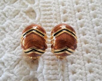 Joan Rivers Black Brown Glazed/Enamel Gold Tone Clip On Earrings