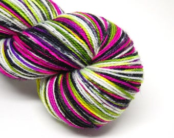 "Glam Rock Sparkle Sock Yarn - ""Xtra Creepy"" -  Handpainted Superwash Merino - 438 Yards"