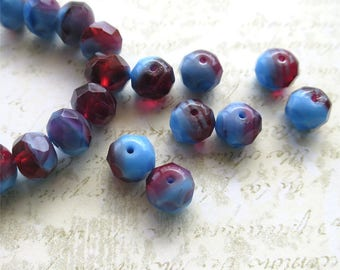 Rhubarb blue and red rondelles pressed Czech glass beads 8mm