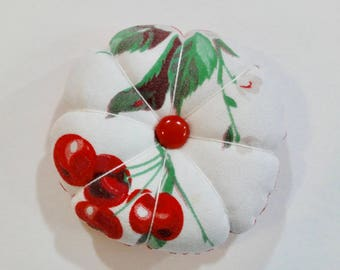 Red Cherries Pincushion Made From A Vintage Wilunder Tablecloth