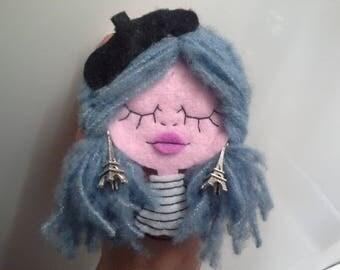 Felt Brooch Girl portrait Art Doll Little Parisian Girl Thunderstorm over Paris