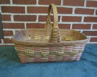 Vintage Large Ash Splint Eastern Woodlands Native American Indian Gathering Basket with Lovely Aged Patina