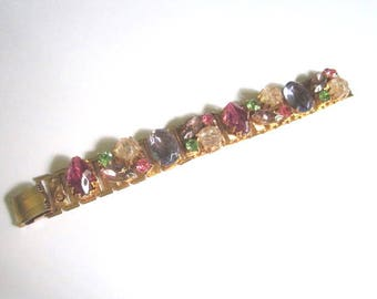 Vintage Gorgeous Juliana D&E Chunky Pink Lavender and Green Rhinestone Bracelet