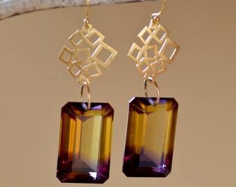 Ametrine Gold Earrings. Bi Color Purple Yellow Ametrine Earrings.  Rare Bolivian Ametrine  Earrings. Fine Jewelry. Geometric Earrings.