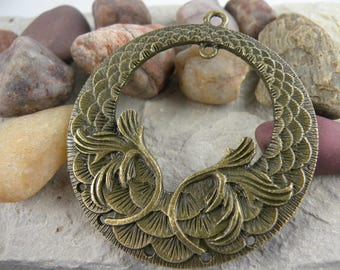 Art Deco Statement Pendant Focal Blank Antiqued Brass Scroll & Scales Metal Stamping