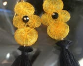 Dangling earrings | yellow and black earrings | black tassel earrings | long earrings
