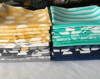 RARE Color Theory Fat Quarter Bundle Out of Print V and Co Quilting Aqua Blue Grey Gold Geometrics Tone on Tone Stripes Flowers piecesofpine