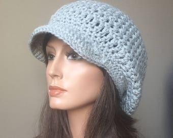 Extra Slouchy Cap brimmed rasta hat Grey Eco Friendly Hemp Wool Blend Autumn Fall Winter Fashion ready to ship