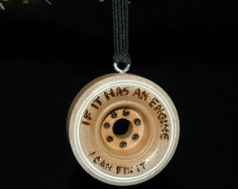 Fix It Engine Ornament - Wood Burned - Personalized - Solid Wood