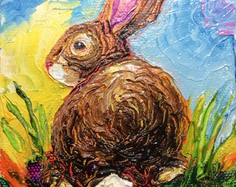 Bunny Rabbit 4 by 4 Inch Original Impasto Oil Painting by Paris Wyatt Llanso