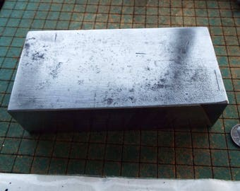 "Doorstop, Bench Block, Anvil, Paperweight, steel block, 6 1/2 lb, stamping block,  2 3/4"" x 5 1/2"" by 1 1/2"", Save Your Table"