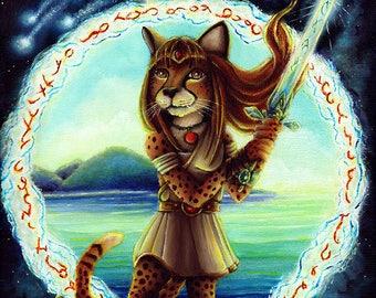 Cheetah Wielding Sword, Page of Swords, Sci Fi Fantasy 8x10 Fine Art Print