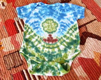 18m Tie Dye Baby Onesie - Peaceful Little Tree - Ready to Ship