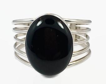 Onyx Bracelet, Onyx Cuff, Sterling Silver, Black Onyx, Vintage Bracelet, Signed, Wide, Large, Statement, Bohemian, Black Stone, Big, Ethnic