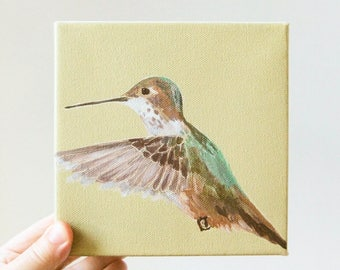 hummingbird / original painting on canvas
